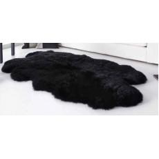 Ковер из четырех новозеландских овечьих шкур (цвет чёрный)