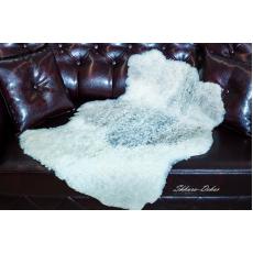 Овчина (бежево-серая) с кудрявым ворсом 100 х 70 см.